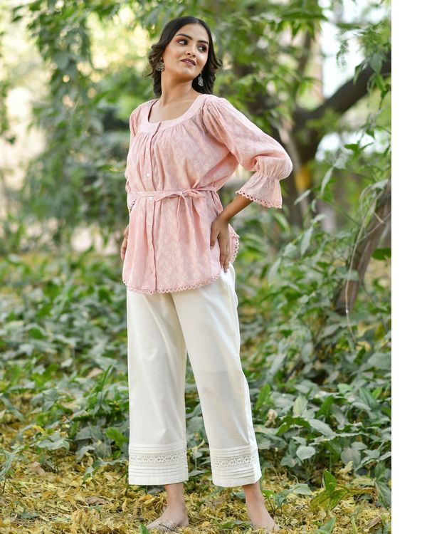 Pink jacquard top with pants - set of two 1