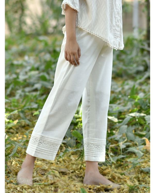 Off white lace detailed cotton pants 1