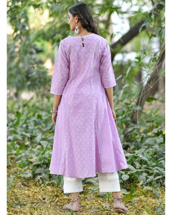 Purple jacquard cotton anarkali kurta set - set of three 3