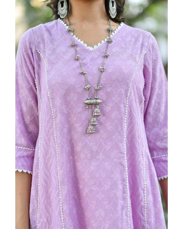 Purple jacquard cotton anarkali kurta set - set of three 1