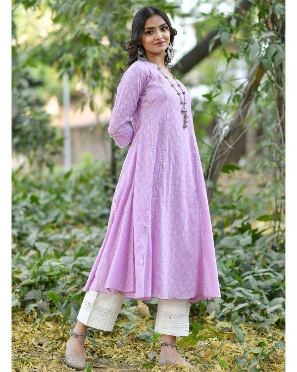 Purple jacquard cotton anarkali kurta 2
