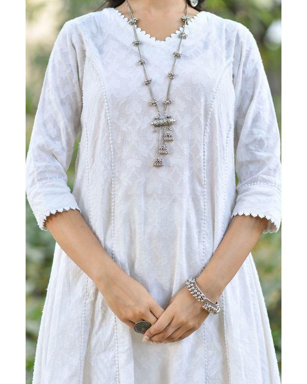 Off white jacquard cotton anarkali kurta set - set of three 1