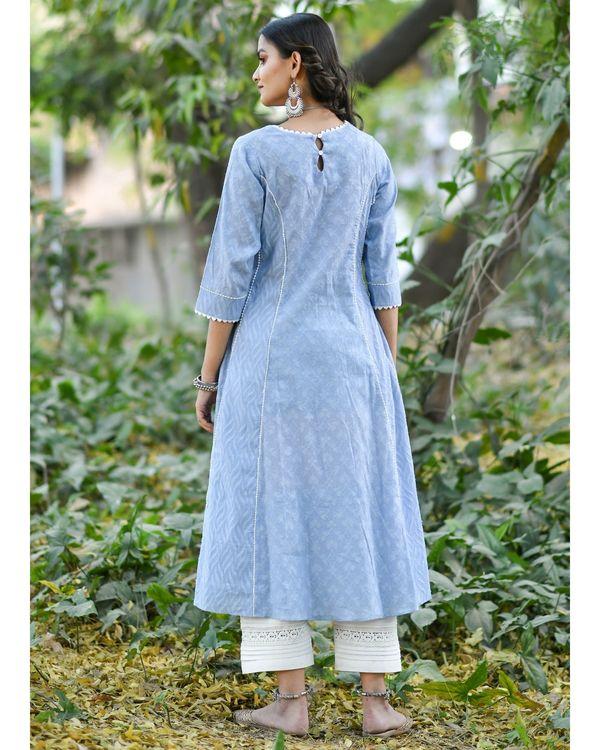 Blue jacquard cotton anarkali kurta set - set of three 3