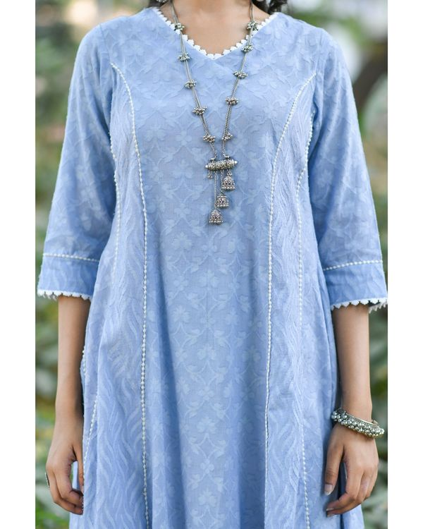Blue jacquard cotton anarkali kurta set - set of three 1
