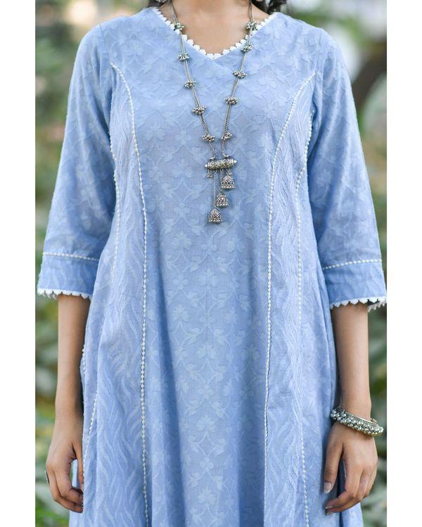 Blue jacquard cotton anarkali kurta 1