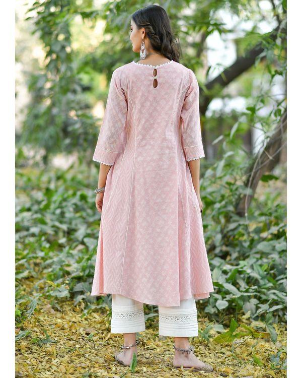Pink jacquard cotton anarkali kurta set - set of three 3