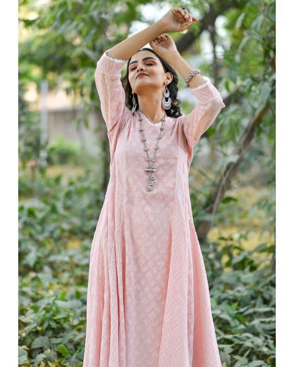 Pink jacquard cotton anarkali kurta set - set of three 1