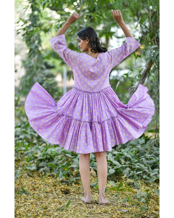 Purple block printed tiered dress 3