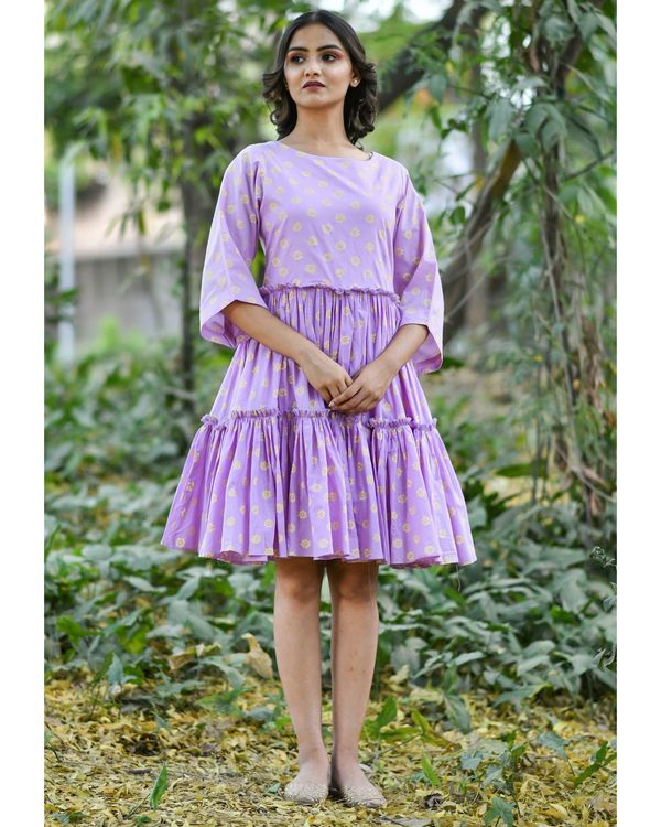 Purple block printed tiered dress 1