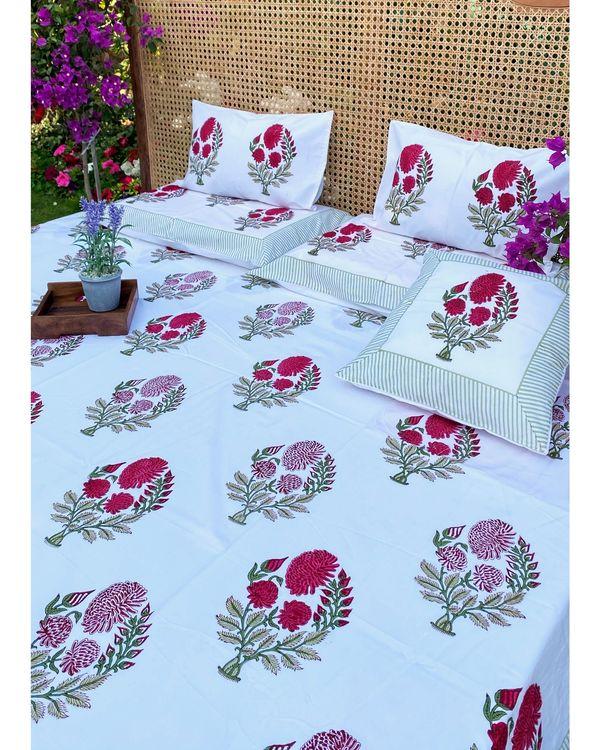 Rani pink mughal square and lumbar cushion covers - set of 4 1