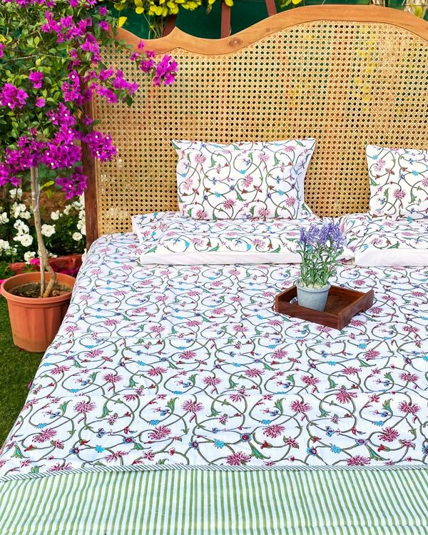 Floral jaal square and lumbar cushion covers - set of 4 1