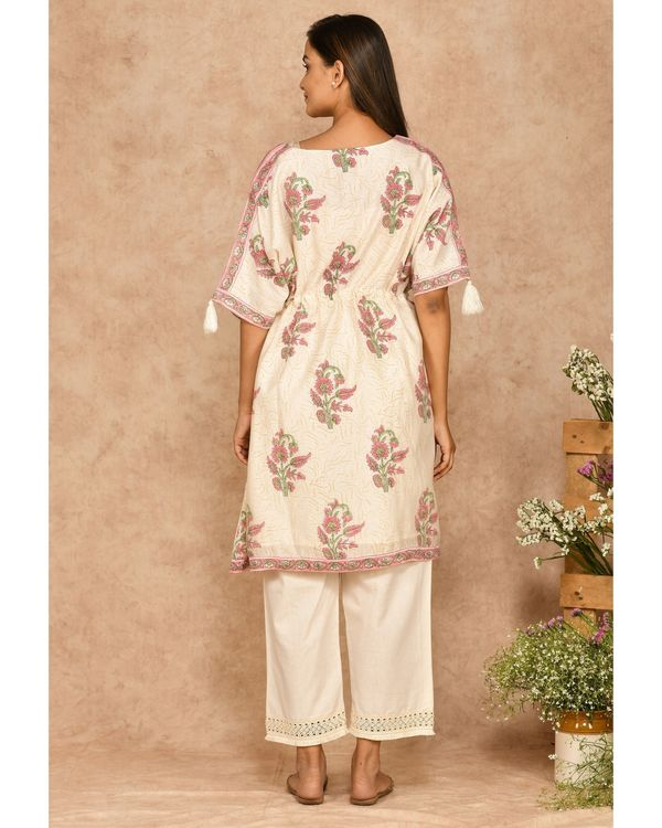 Pink and off white floral printed kaftan with pants - set of two 2