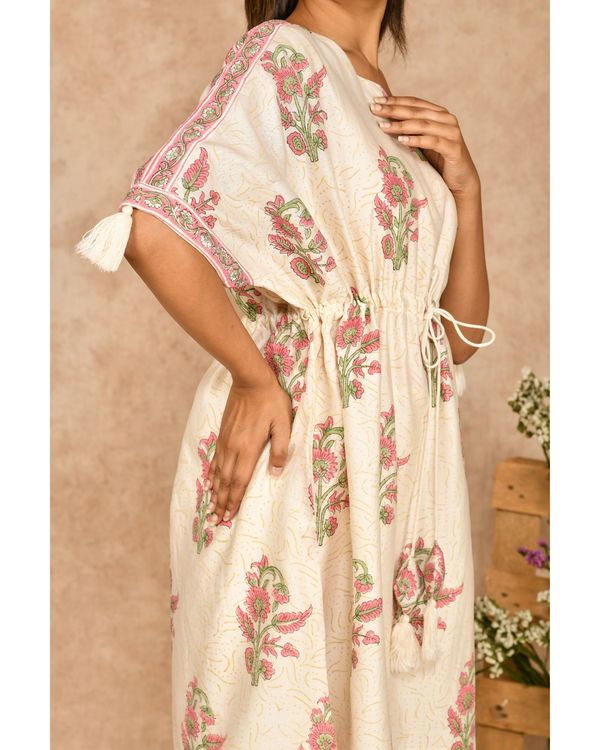 Pink and off white floral printed kaftan with pants - set of two 1