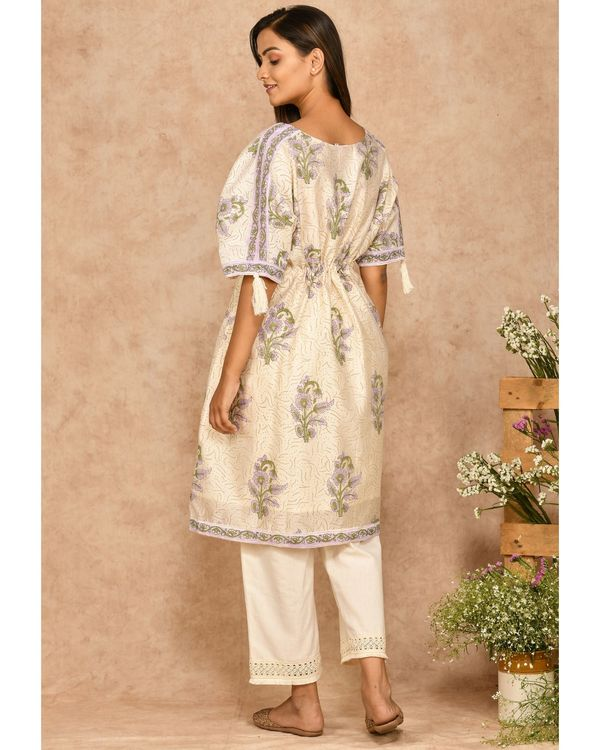Purple and off white floral printed kaftan 2
