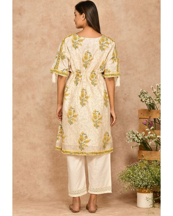 Yellow and off white floral printed kaftan with pants - set of two 3