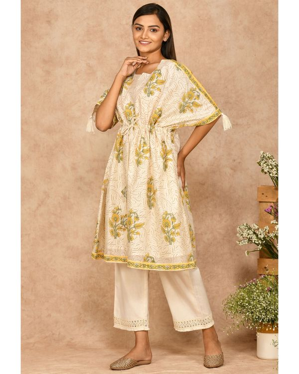 Yellow and off white floral printed kaftan with pants - set of two 2