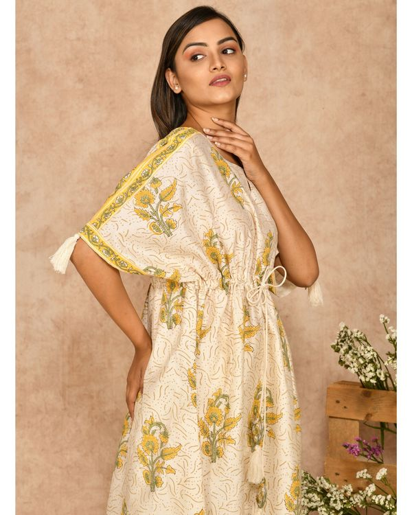 Yellow and off white floral printed kaftan with pants - set of two 1