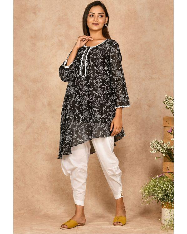 Black hand block printed asymmetrical kurta with dhoti pants - set of two 2
