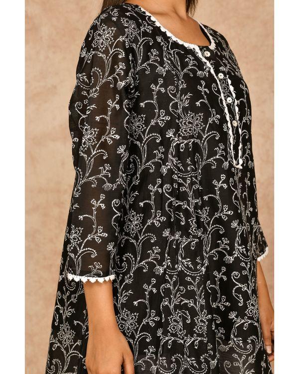 Black hand block printed asymmetrical kurta with dhoti pants - set of two 1