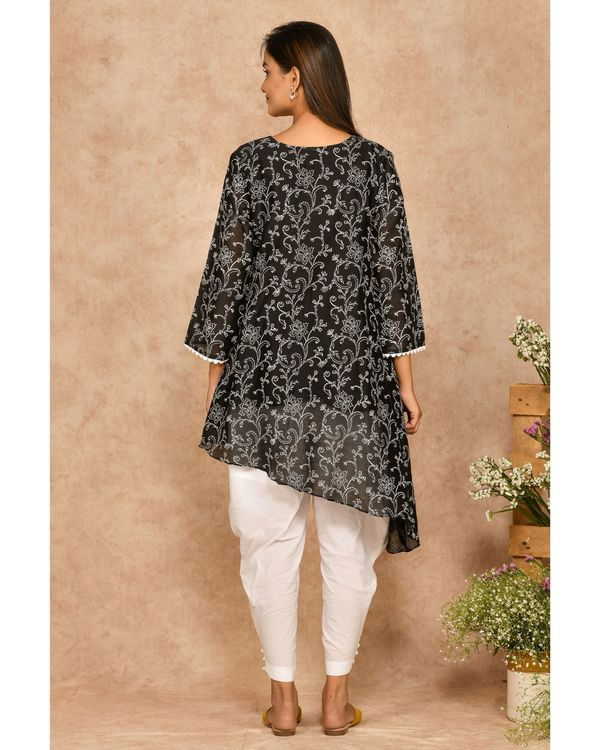 Black hand block printed asymmetrical kurta 2
