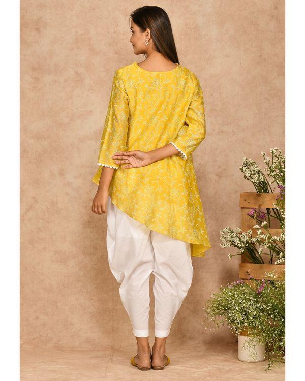 Yellow hand block printed asymmetrical kurta with dhoti pants - set of two 2