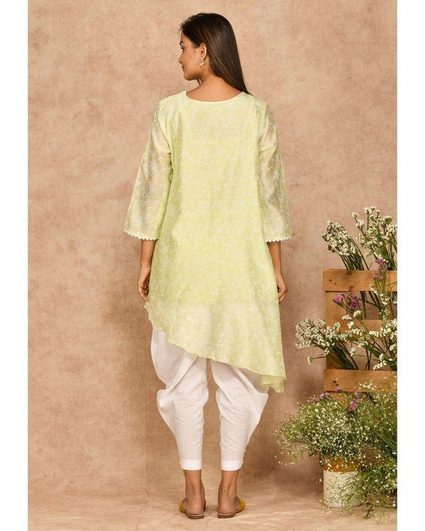 Mint green hand block printed asymmetrical kurta with dhoti pants - set of two 3