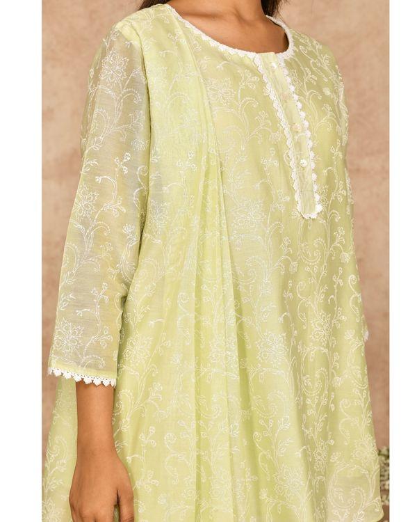Mint green hand block printed asymmetrical kurta with dhoti pants - set of two 1