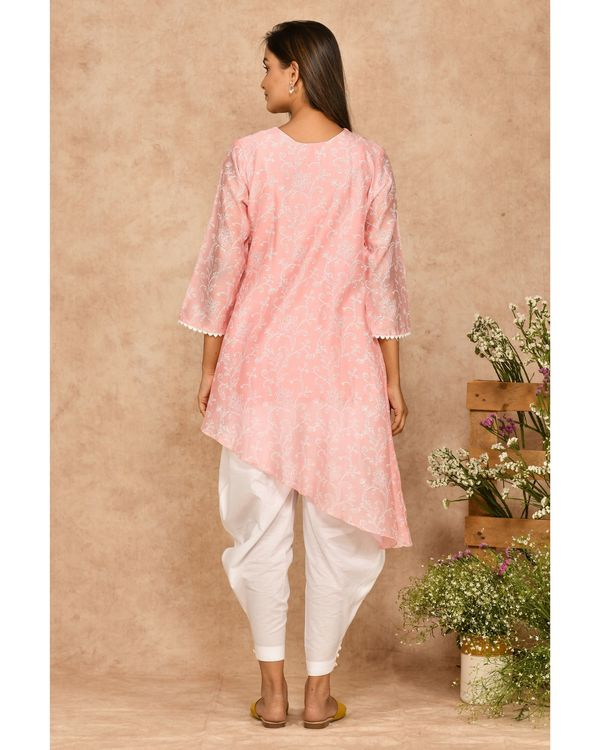 Pink and white hand block printed asymmetrical kurta with dhoti pants - set of two 3