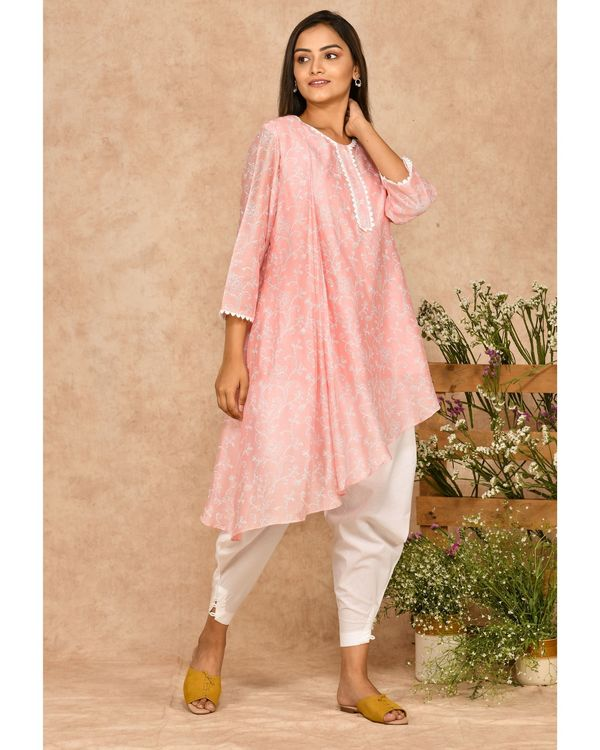 Pink and white hand block printed asymmetrical kurta with dhoti pants - set of two 2