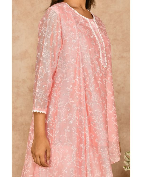 Pink and white hand block printed asymmetrical kurta with dhoti pants - set of two 1