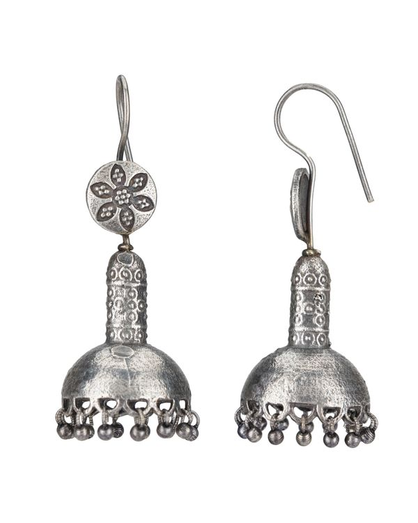 Dome shaped floral hook earrings 1