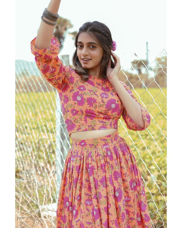 Orange and pink floral printed crop top with skirt - set of two 1