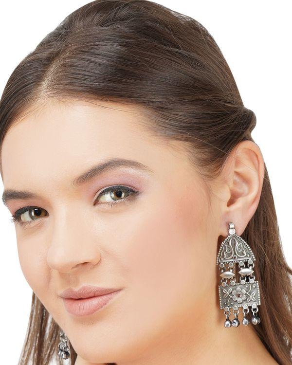 Geometric peacock beaded brass earrings 2