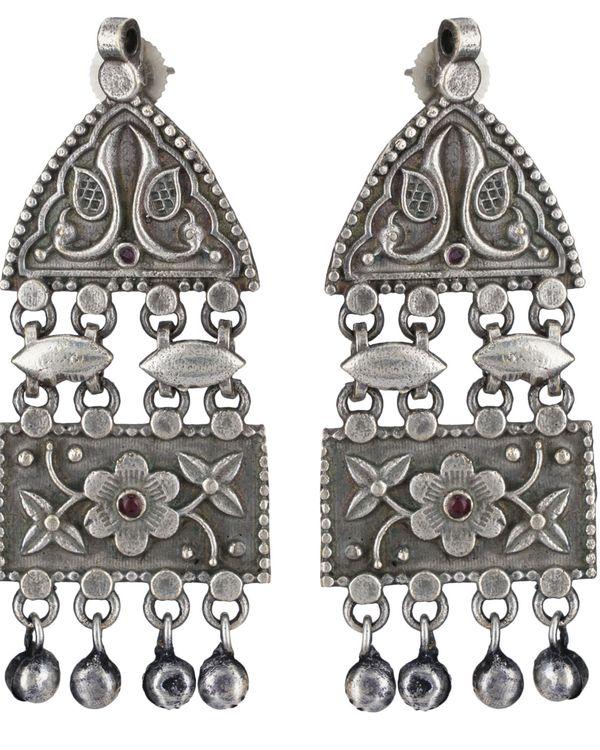 Geometric peacock beaded brass earrings 1