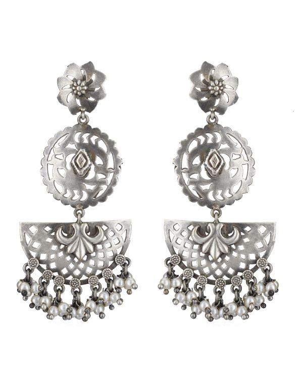 Moon shaped brass earrings 2