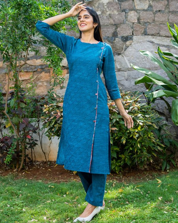 Peacock blue kurta and pants with printed kalamkari dupatta - set of three 2