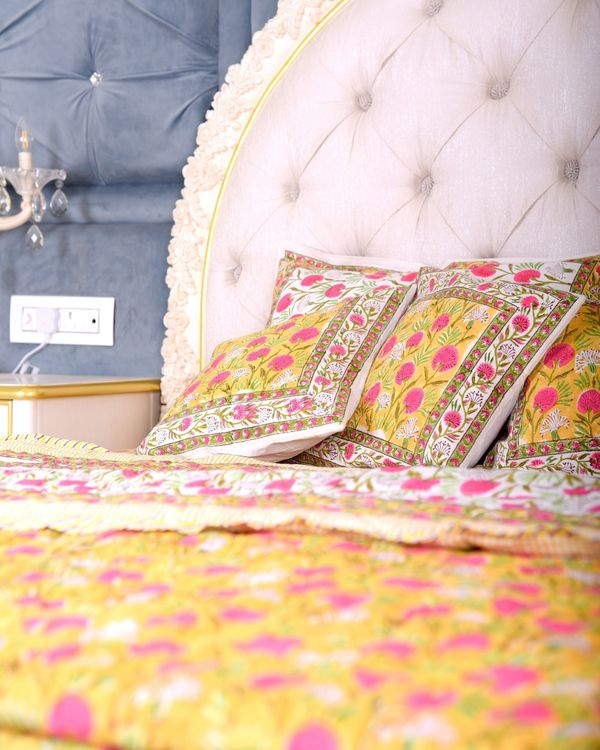 Yellow and pink floral king size bed sheet 1