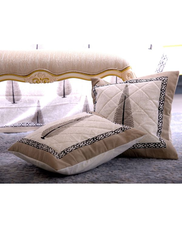 Off white and greyish brown cypress print quilted cushion covers - set of 2 1