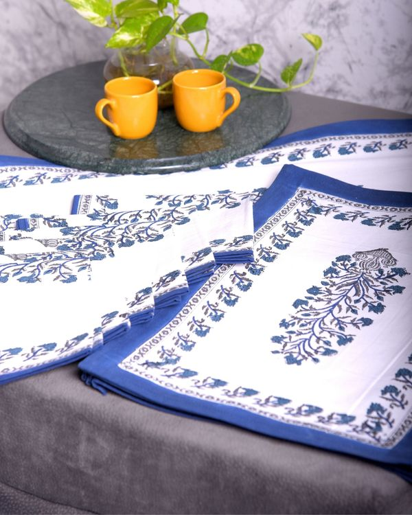 White and blue floral printed table runner, table mats and napkins - set of 13 2