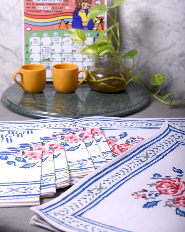 Blue floral printed table runner, table mats and napkins - set of 13 2