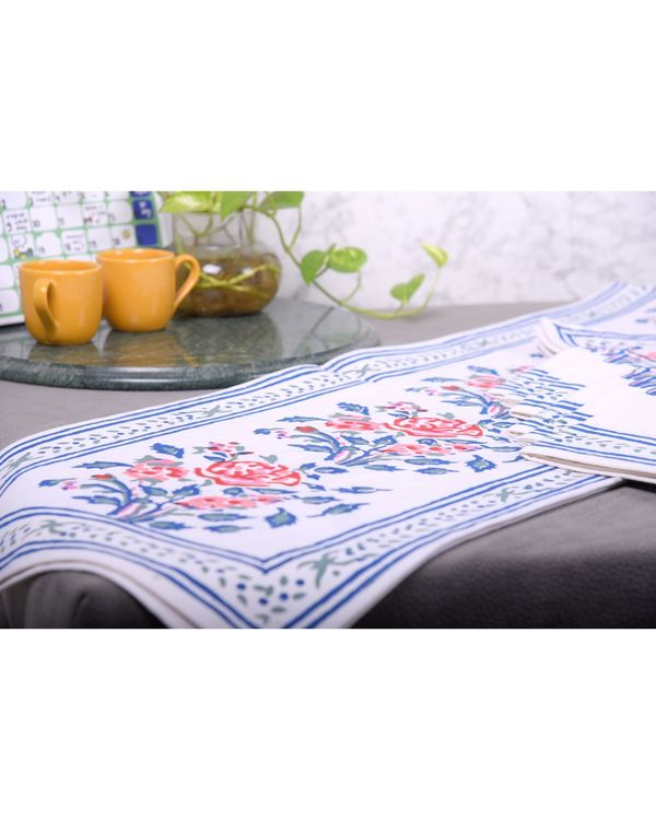 Blue floral printed table runner, table mats and napkins - set of 13 1