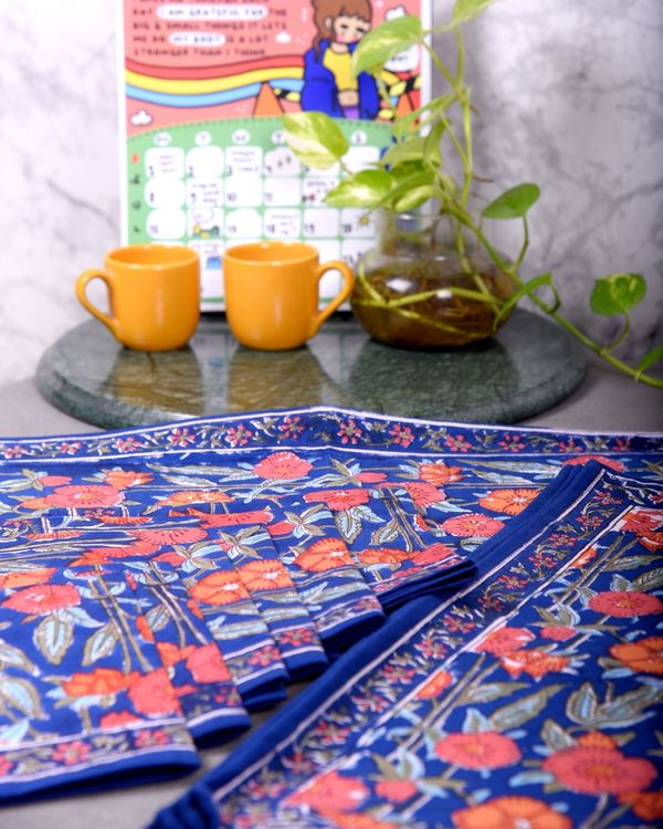 Blue and orange floral table runner, table mats and napkins - set of 13 2