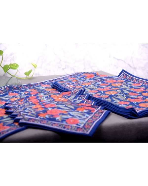 Blue and orange floral table runner, table mats and napkins - set of 13 1