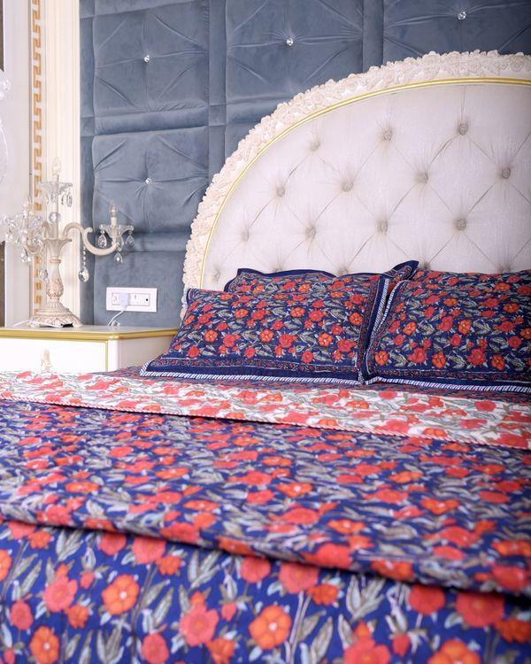 Dark blue floral king size bed sheet 2