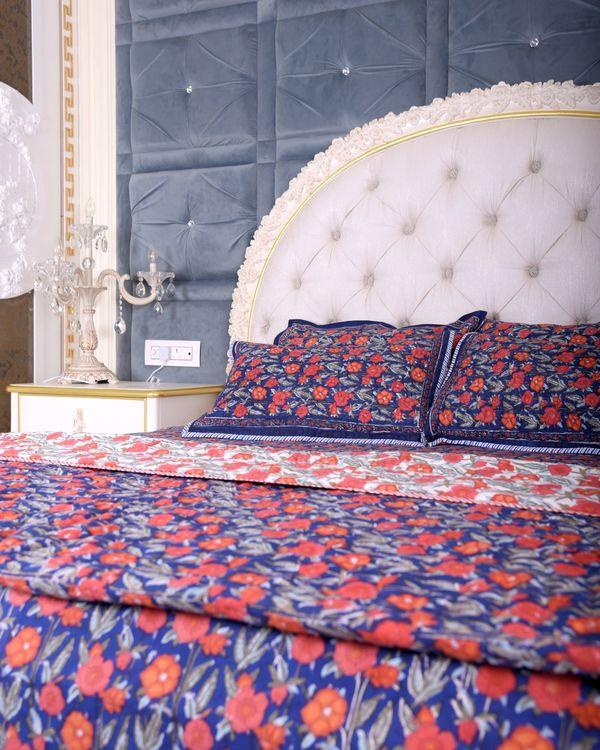 Dark blue floral king size bed sheet 1