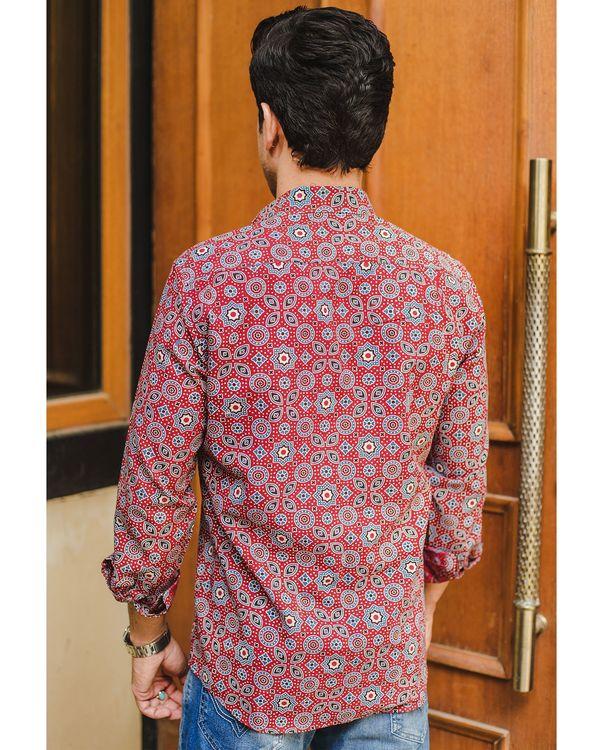 Red ajrakh printed shirt 3