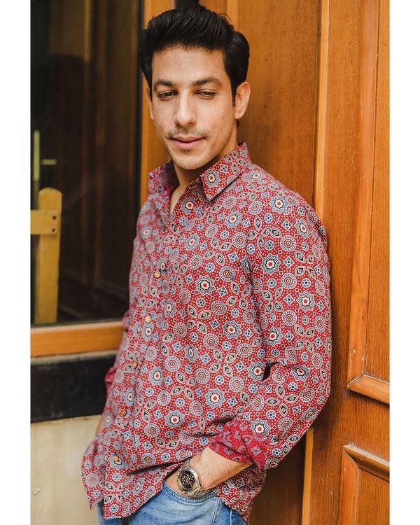 Red ajrakh printed shirt 1