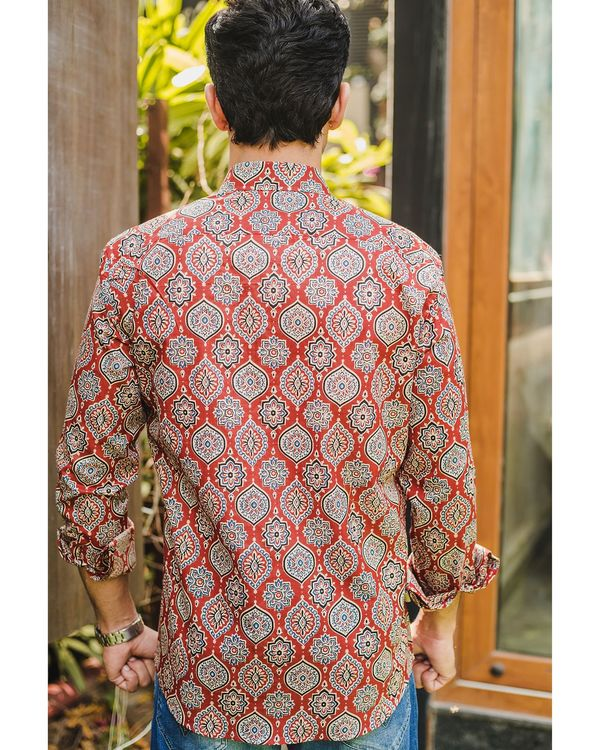 Red persian ajrakh printed shirt 3