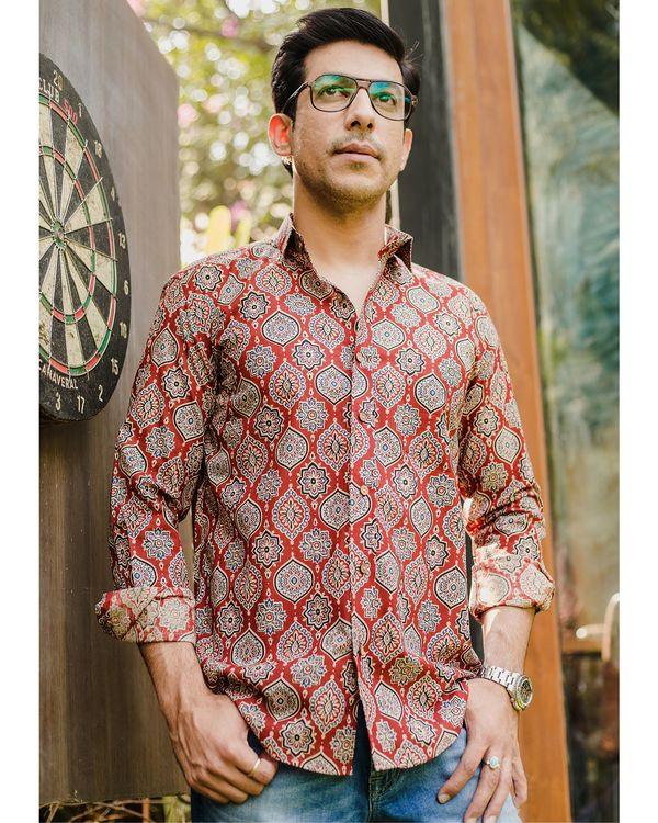 Red persian ajrakh printed shirt 2