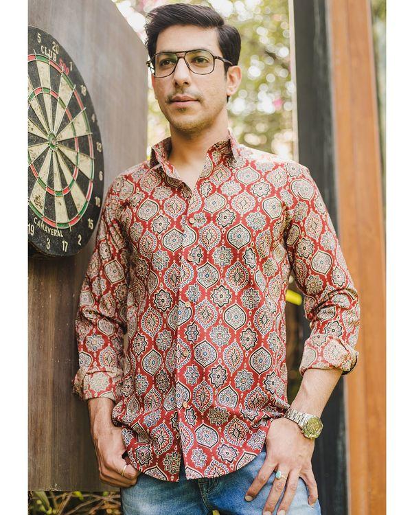 Red persian ajrakh printed shirt 1